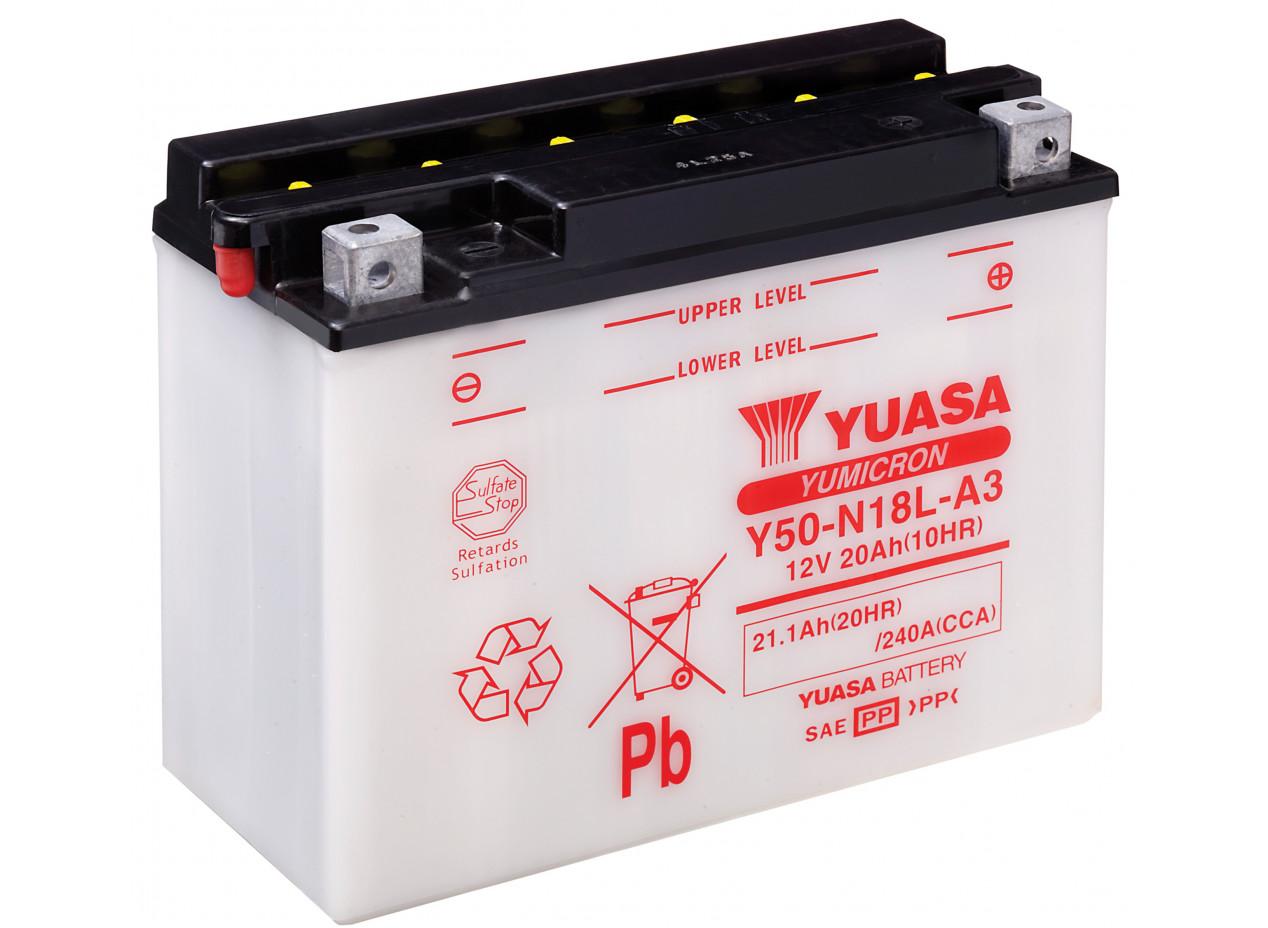 Aperçu du produit BATTERIE MOTO YUASA Y50-N18L-A3 12V 20AH 240A